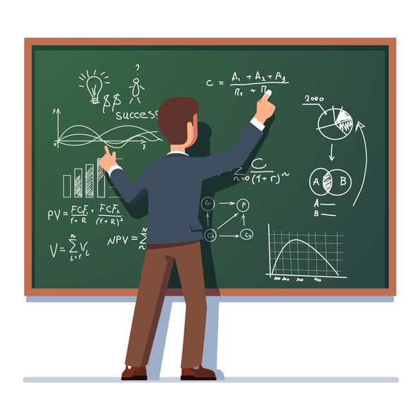 Business school professor teaching explaining and writing formula on class chalkboard. Flat vector clipart illustration.